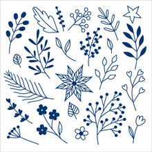 A Set Of Plant Elements In The Doodle Style. Flowers, Flowers, Stylized Elements For The Design Of Wedding Invitations, Wallpaper And Fabric Design, Postcards And Other Printed Products.
