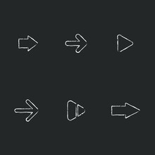 Arrows Right, Forward Vector Chalk Icon