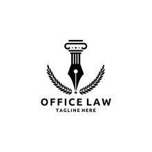 Pillar And Fountain Pen Shaped Logo For Law Firms. Vector Illustration Template