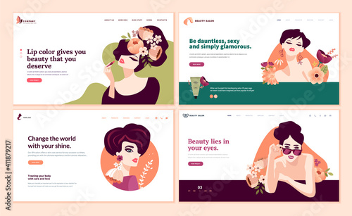 Obraz Web page design templates set for beauty, cosmetics, makeup, natural products, healthy life. Modern flat design vector illustration concepts for website and mobile website development.  - fototapety do salonu