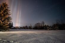 Light Pillars Result From A Rare Meteorological Phenomena. Winter Nature Landscape.