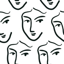 Contemporary Seamless Pattern. Abstract Repeated Art Print Matisse Inspired Face. Vector Illustration