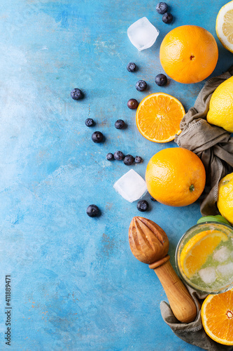 Close-up Of Fruits On Blue Table © roman larin/EyeEm