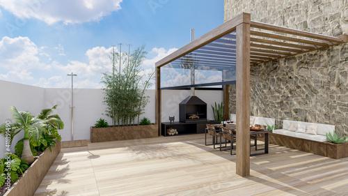 3D illustration of urban patio with wooden teak flooring. - fototapety na wymiar