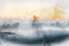 Digital Watercolor Painting Of Majestic Landscape Image Of Cloud Inversion At Sunset Over Dartmoor National Park In Engand With Cloud Rolling Through Forest On Horizon