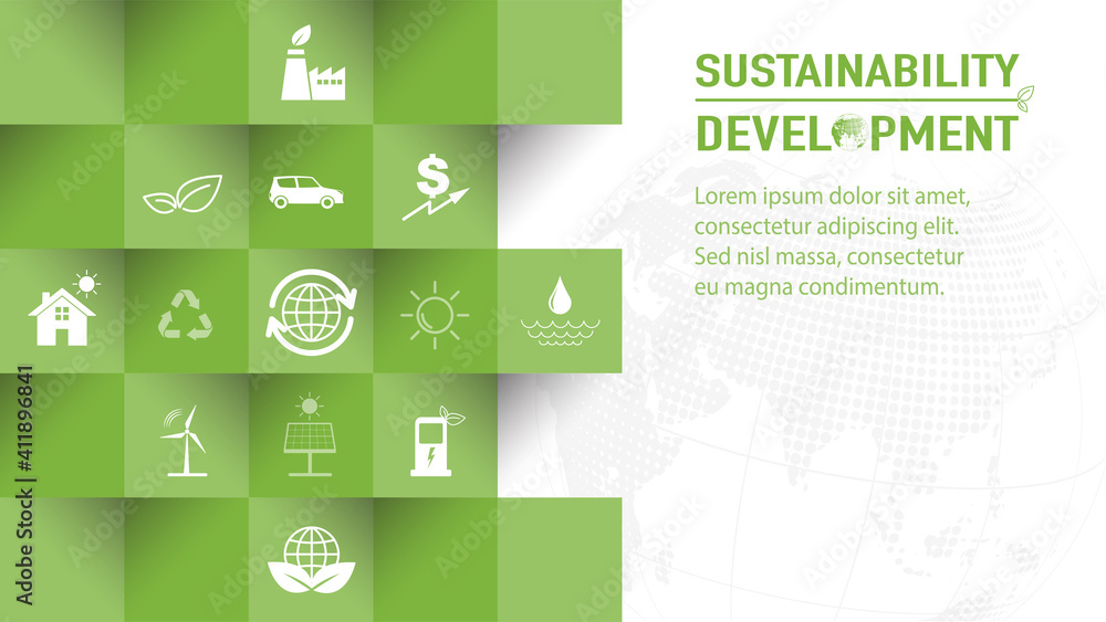 Fototapeta Template design for Sustainability development and Global Green Industries Business concept, Vector illustration