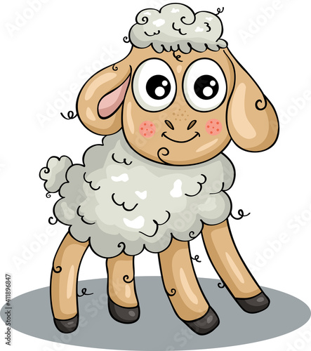 Funny sheep isolated on white  #411896847