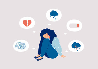 Young woman who suffers from mental health diseases is sitting on the floor. Girl surrounded by symptoms of depression disorder: anxiety, crisis, tears, exhaustion, loss,  overworked, tired.