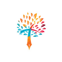 Tree Pen And Cross Vector Logo Design Template. Bible Learning And Teaching Class.