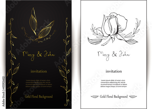 Gold and white floral wedding invitation card gold floral wedding invitation
