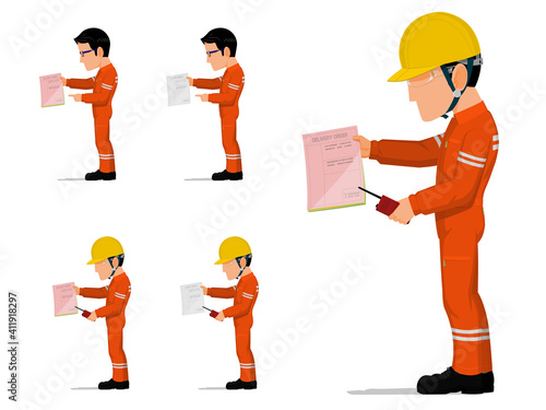 Fototapeta set of an industrial worker is holding some document obraz