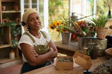 Portrait Confident Female Florist Boxing Succulents In Shop