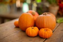 Close Up Vibrant Orange Pumpkin Display On Table