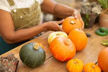 Close Up Woman Arranging Autumn Pumpkin Display
