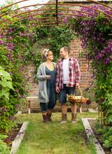 Couple Harvesting Vegetables Below Trellis With Purple Flowers