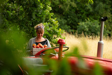 Woman With Fresh Harvested Apples At Tractor In Orchard