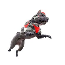 Cyber Dog Is Jumping With An Angry Face In White Background