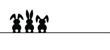 Rabbit Silhouette Icon. Line Pattern. Funny Easter Bunny. Flat Vector Rabbits Ears In Cartoon Style. Happy Easter Party.