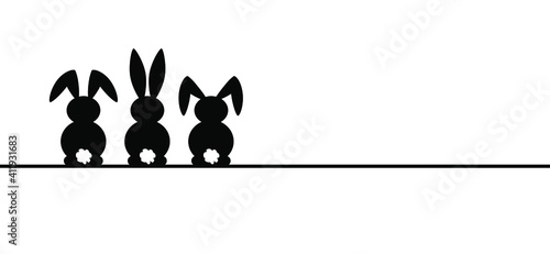 Bunny ears. Rabbit silhouette icon. Line pattern. Funny easter bunny. Flat vector rabbits ears in cartoon style. Happy easter party. eggs.