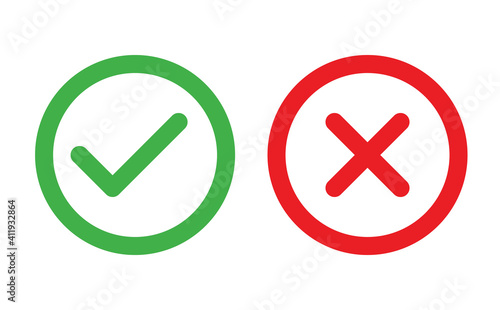 Obraz Check and Cancel Button. Yes and No symbol. Accepted and Rejected, Approved and Disapproved Web Button - fototapety do salonu