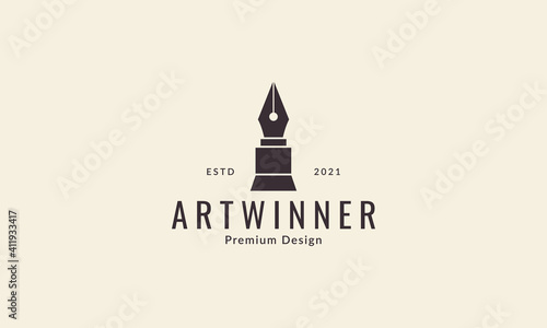 Leinwand Poster old pencil with trophy logo symbol vector icon graphic design illustration