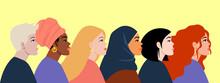 International Womens Day. Women Different Nationalities. Feminism Concept