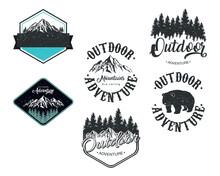 Bundle Of Six Outdoor Adventure Letterings Emblems