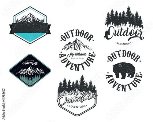 Obraz na plátne bundle of six outdoor adventure letterings emblems