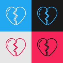 Pop Art Line Broken Heart Or Divorce Icon Isolated On Color Background. Love Symbol. Valentines Day. Vector.