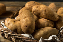 Raw Borwn Organic Russet Potatoes