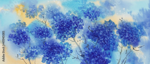 Fotografie, Tablou a bouquet of blue flowers, hydrangeas watercolor illustration