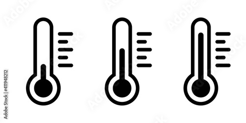 Fotografiet Set of thermometer icons in line style vector illustration