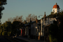 Sunset View Of The Historic Train Depot Constructed 1894 In The Mission Revival Style In San Juan Capistrano, California, USA.