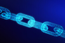 Close-up Of Illuminated Chain Against Blue Background