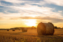 Evening Landscape Of Straw Bales Against Setting Sun On The Background. Rural Nature