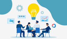 Vector Of Businesspeople Brainstorming Financial Opportunity Idea