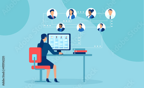Obraz Vector of businesspeople working from home chatting online using modern technology - fototapety do salonu