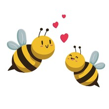 Special Illustration For Valentine's Day; Bees In Love And Heart Figures