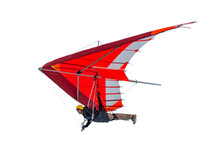 Hang Glider Wing Silhouette Isolated On White.
