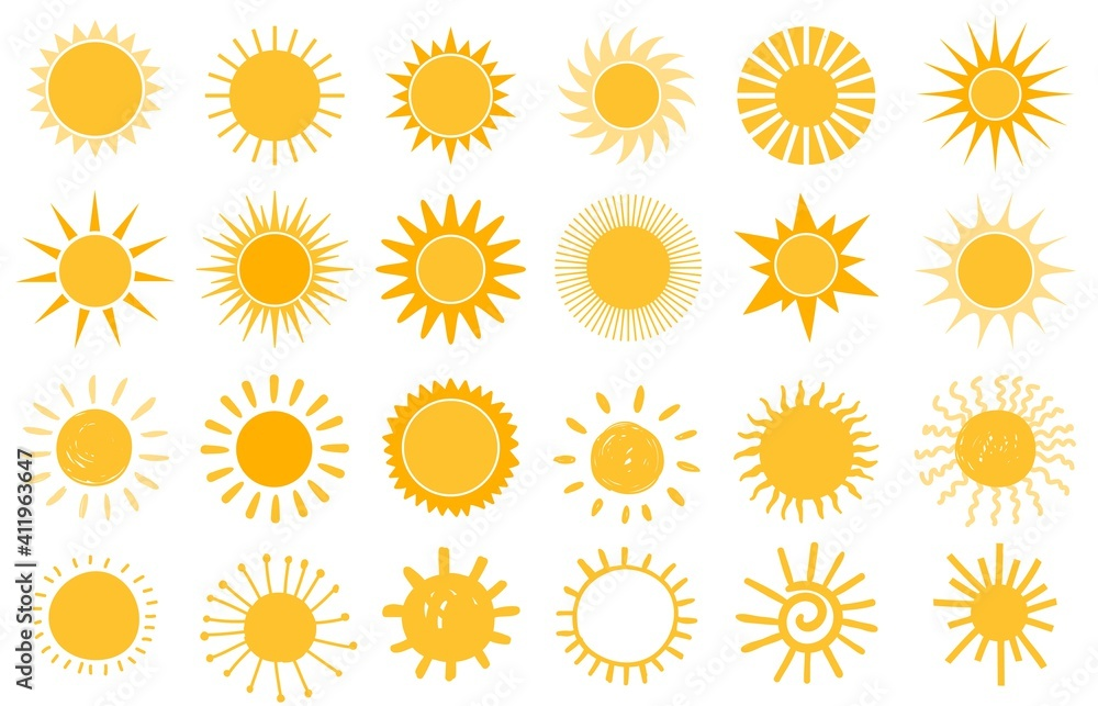 Fototapeta Cartoon sun icon. Flat and hand drawn summer symbols. Sunshine shape logo. Morning sun silhouettes and sunny day weather elements vector set. Bright orange sunlight with beams and rays