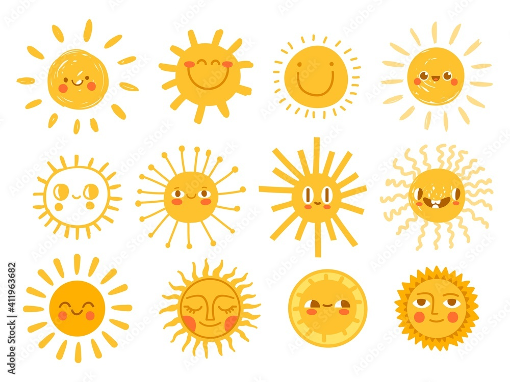 Fototapeta Sun characters. Cartoon sunshine emoji with funny faces. Children nursery decoration with sunny day designs. Kid happy morning vector set. Warm shining beams with smiling cheerful faces