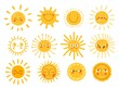 Sun characters. Cartoon sunshine emoji with funny faces. Children nursery decoration with sunny day designs. Kid happy morning vector set. Warm shining beams with smiling cheerful faces