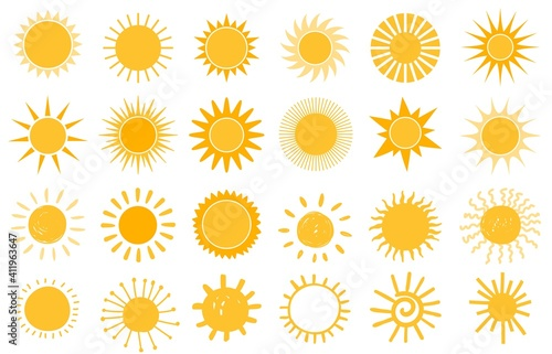 Obraz Cartoon sun icon. Flat and hand drawn summer symbols. Sunshine shape logo. Morning sun silhouettes and sunny day weather elements vector set. Bright orange sunlight with beams and rays - fototapety do salonu