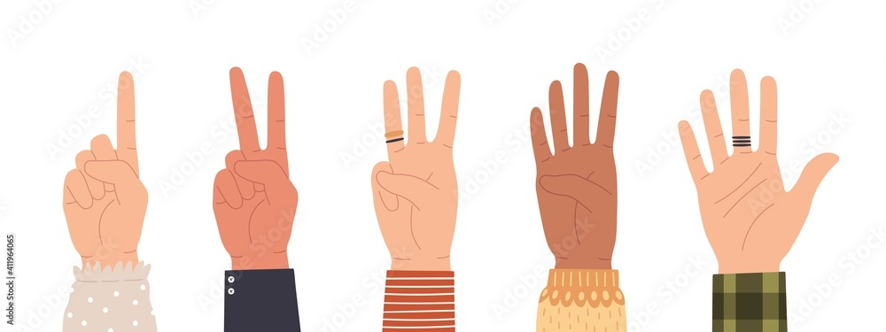 Fototapeta Hands counting. Count on fingers showing number one, two, three, four and five. Hand icons countdown gesture in trendy flat style vector set. Male and female palms with rings isolated