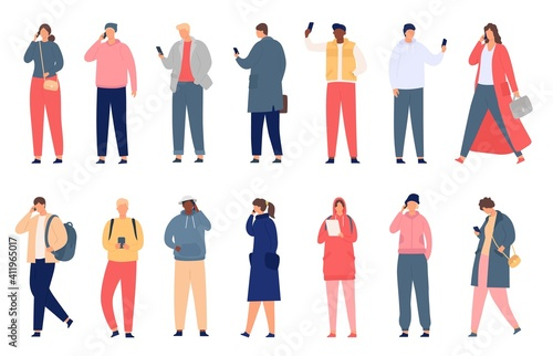 Crowd holding smartphone. Walking and standing people texting, checking social media and talking on phone. Modern flat characters vector set. Man and woman in casual outfit with gadgets