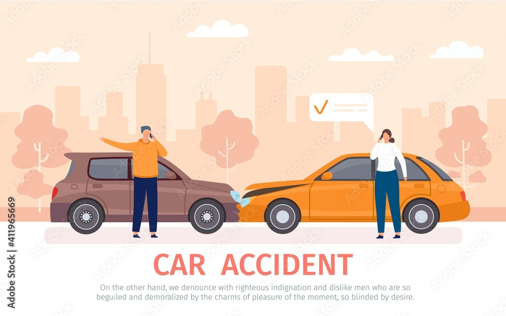 Fototapeta Car crash. Auto accident with drivers with phones standing near vehicles and calling for insurance. Damaged cars on road flat vector concept. Vehicles collision with owners cartoon banner