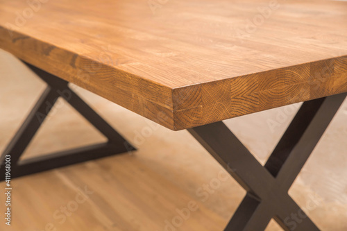 Canvas Print tabletop close-up where you can see glued together wood blocks imitating one who