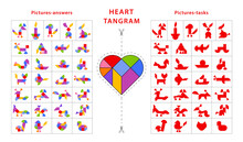 Set Of Vector Tangram Heart Puzzles (geometric Puzzle) For Development Of Logical Thinking. Collection Consists Of 29 Items Of Animals And Vehicles. Cards With Tasks And Answers. Vector Illustration