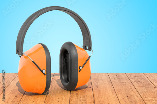 Canvas Print Standard Ear Defenders on the wooden planks, 3D rendering