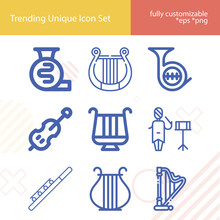 Simple Set Of Musical Group Related Lineal Icons.